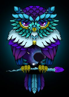 Cosmic Owl Art Drawings For Kids, Bird Drawings, Colorful Drawings, Cute Owls Wallpaper, Owl Coloring Pages, Owl Artwork, Owl Tattoo Design, Owl Pictures, Animal Paintings