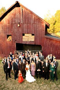 Ok, I know it may not be a fall wedding, but I still REALLY LIKE THIS IDEA. Fall wedding barn group photo - great idea!