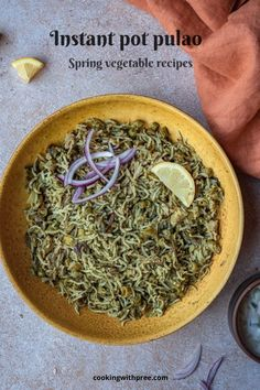 Instant pot pulao : Spring vegetarian pulao.. delicious and simple one pot rice recipe using seasonal produce.. kid friendly and perfect for luncbox.. #brusselssproutsrecipes #springrecipes #instantpotrice #instantpotrecipe #vegetarian #vegan #vegetablerice #indianrecipes #pressurecookerrecipes #toddlerrecipes #cookingwithpree | cookingwithpree.com