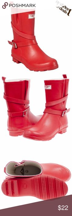 Women's Red Rubber Rain Boots RB-1414 Enjoy Rainy Weather in Stylish Ladies' Rain Boots! 100% Rubber, Full Cotton Lining. Whatever you Call Them - Wellies, Galoshes, Rain Boots or Sluggers, Your Feet  are Sure to Stay Dry while Exploring Puddles or Gardening! Run Half a Size Large to Accommodate a Thick Sock. Forever Young Shoes Winter & Rain Boots