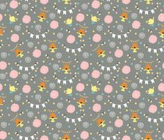 Garden Party custom fabric by cooper+craft for sale on Spoonflower Craft Sale, Custom Fabric, Spoonflower, Printing On Fabric, Red And White, Craft Projects, Kids Rugs, Quilts, Garden