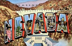Greetings from Nevada - Large Letter Postcard