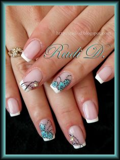 It`s all about nails: French & Blue Flowers.. simple but cute