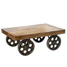 Coffee Table, Mango Wood with iron wheels