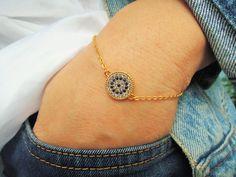 Evil eye bracelet - girlfriend gift - gold evil eye jewelry - mom gift - turkish eye bracelet - bohemian jewelry-  wife gift - blue - sister by ebrukjewelry on Etsy