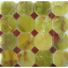 3 in. x 3 in. Green Onyx Octagon Polished Mosaic Tile with 1 in. Red Onyx Dot #green_onyx_tile #green_onyx_mosaic_tile #Green_Octagon_tile #Green_onyx_with_red_dot