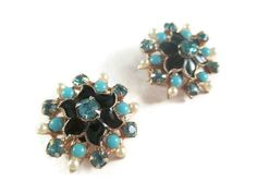 Vintage Pair of Enamel Scatter Pins Aquamarine & Turquoise Color Stones Faux Seed Pearls