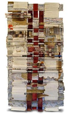 Who Owns The News sculptural collage  by Joan Giordano - woven and rolled international newspapers, corrugated paper, Japanese paper, graphite, paint and encaustic.
