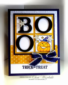 Stampin' Up! ... handmade card from Me, My Stamps and I ... four pane window frame  with BOO letters and a pumpkin ... great card!