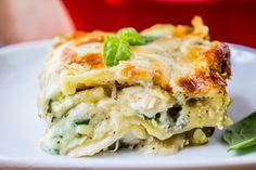 White Chicken Lasagna with Pesto on iheartnaptime.com