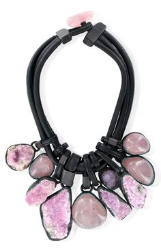Monies    Raw amethyst and leather necklace    www.IsabelleK.com