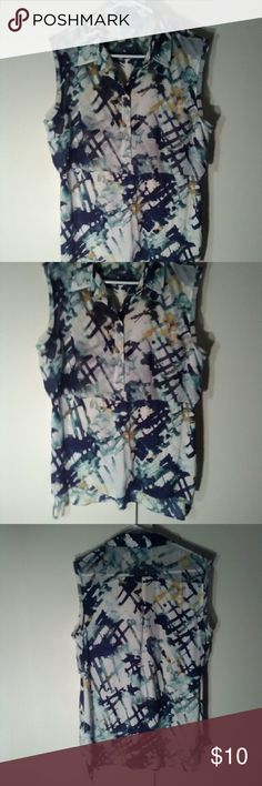 "VERA WANG BLOUSE Vera Wang/Simply Vera Striking Muli-Colored With Blue Shades, Black, White, Ochre. Light and Flowing. Very Flattering. Size XLP Approx 29"" From Back Nape to Bottom. Approx 22"" From Pit to Pit. Great Condition  . VERA WANG Tops Blouses"