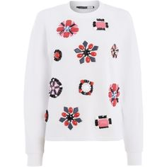 Sportmax Code Talete scuba embellished jewel sweater (€180) ❤ liked on Polyvore featuring tops, sweaters, white, women, white top, embellished tops, jewel top, jeweled sweater and jeweled tops