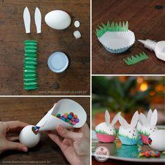 Montando o coelhinho de casca de ovo recheado- Passo a passo com fotos - making the little bunnies using egg shells with candy filling- DIY tutorial  - Madame Criativa - www.madamecriativa.com.br