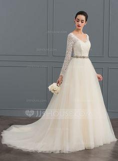 [US$ 162.29] Corte de baile Escote en V Cola corte Tul Encaje Vestido de novia
