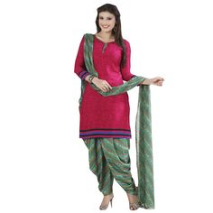 Crepe Pink Printed Unstitched Patiala Suit - Q1009 at Rs 715