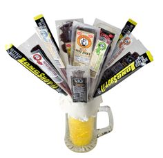 Our man bouquet is nearly a pound of jerky and meat sticks arranged in a 25 ounce giant beer mug vase. The perfect groomsmen gifts everytime! Valentines Ideas For Him, Valentines Diy, Valentine Day Gifts, Man Bouquet, Gift Bouquet, Perfect Gift For Boyfriend, Boyfriend Gifts, Beef Jerky Bouquet, Birthday Bouquet