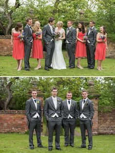 Poppy and charcoal wedding party. I'd add a light foam green or something in there