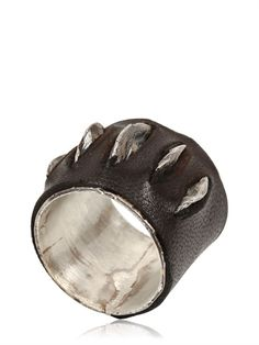 CON-FUSIONE - SILVER AND LEATHER RING - LUISAVIAROMA - LUXURY SHOPPING WORLDWIDE SHIPPING - FLORENCE