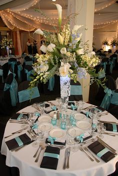 tall vases centerpieces | Tall Vase Centerpiece with Black and Turquoise | Flickr - Photo ...