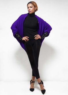 Origami Cape. A cape with a twist...sleeves! The perfect casual item for the woman who wants to be chic and comfortable. Perfect for dinner, shopping or travel. Offered in regular and long and with 3 options for your cuffs.   Available in other colors.   Cuff Options: Fabric, Vegan Leather, Faux Fur Dry clean only  Made exclusively in the U.S. A. Elegant Outfit, Vegan Leather, Beautiful Dresses, Faux Fur, Origami, Cuffs, Cape, Colors, Casual