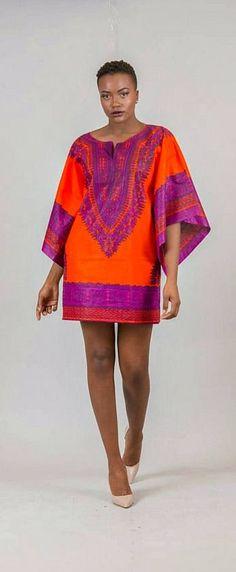 Malaika short dress.   Ankara | Dutch wax | Kente | Kitenge | Dashiki | African print dress | African fashion | African women dresses | African prints | Nigerian style | Ghanaian fashion | Senegal fas (Womens Top Printed)