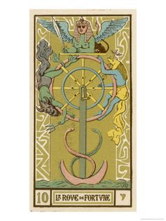 Tarot: 10 La Roue de Fortune, The Wheel of Fortune Giclee Print by Oswald Wirth at AllPosters.com