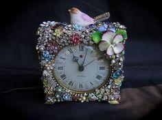 Vintage Rhinestone Jewelry Clock