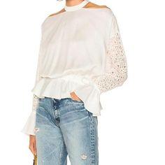 Elegant Sexy Out Lace Blouse Ruffle Top Long Sleeve Shirt Women White Blouses Ladies Fashion Shirts