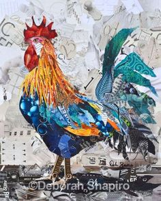 This colorful rooster art on a white background was inspired by the Sicilian Buttercup breed created by Collage Artist Deborah Shapiro with torn bits of magazine paper. Paper Collage Art, Collage Artists, Paper Art, Magazine Collage, Magazine Art, Mix Media, Mixed Media Art, Rooster Art, Chicken Art