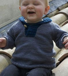 Free Knitting Pattern for Baby Brownstone Sweater - Baby Brownstone  This is a bottom-up pullover sweater with raglan sleeves and with a buttoned shawl collar for easy dressing. Designed by Jessica Leigh. Sizes 3 months, 6 months, 12 months, 18 months, 24 months