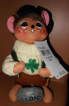 """Annalee Doll St Patricks Day Large Size 10"""" Blarney Boy Mouse ♥ RARE Doll"""