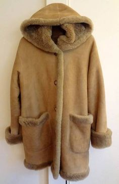 gorgeous shearling coat with hood!
