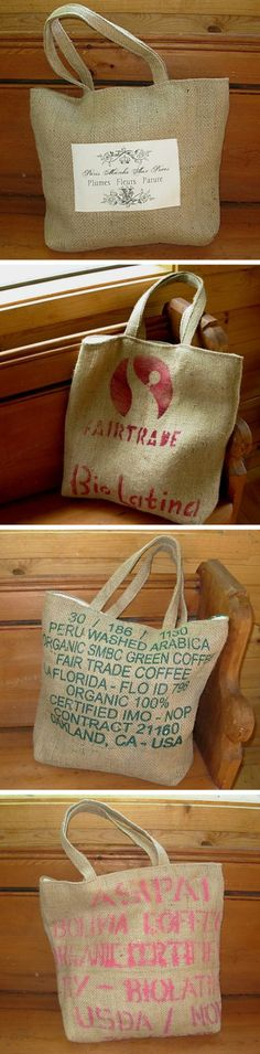 Repurposed Antiques Tote Bags, Recycled & Crafted From Repurposed Coffee Bean Sacks | totebags