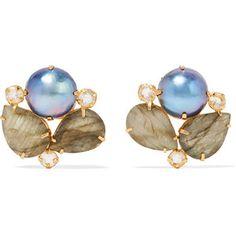Bounkit - Gold-tone Multistone Earrings