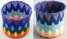 Carol Ventura -  - Spectral Reversible Bead Tapestry Crochet Basket for right-handed crocheters