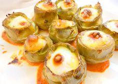 Alcachofas rellenas de brandada de bacalao y huevo de codorniz Sprouts, Sushi, Nom Nom, Fruit, Vegetables, Cooking, Ethnic Recipes, Food, Tortillas