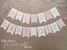 Nice Pink and Gold Child Bathe Banner | Welcome Child Woman