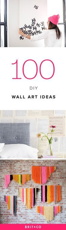 Thinking about redecorating your space? Check out these 100 creative DIY wall art ideas.