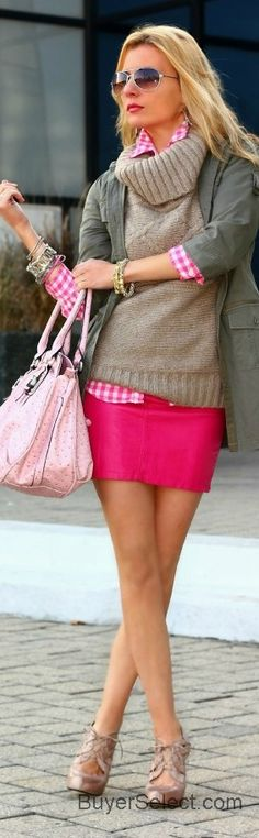 Pink skirt, pink gingham and tan sweater