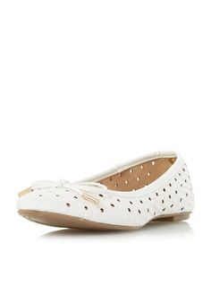 Dorothy Perkins Womens **Head Over Heels Horizon Woven Ballet This woven effect ballerina features a round toe and metal tipped bow. 100% Polyurethane. http://www.MightGet.com/january-2017-13/dorothy-perkins-womens-head-over-heels-horizon-woven-ballet.asp