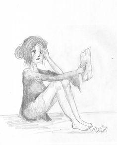 bad news - by Caranfinwen #reading #letter #sad #pencil #woman