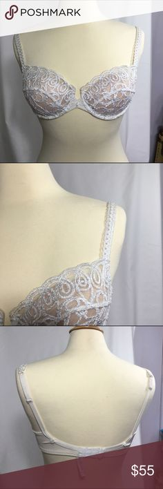 White lace bra.  Lightly padded size 36 B A stunning Lejaby white lace bra.  Nude Lightly padded cups have been added to this bra.  Size 36 B.  Rarely worn.  Excellent condition. Lejaby Intimates & Sleepwear Bras