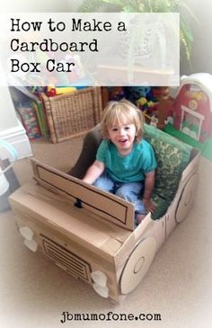 How to make a Cardboard Box Car. and make a toddler VERY happy! - Cardboard Box , How to make a Cardboard Box Car. and make a toddler VERY happy! How to make a Cardboard Box Car. and make a toddler VERY happy! Cardboard Kids, Cardboard Box Crafts, Cardboard Playhouse, Cardboard Furniture, Cardboard Box Ideas For Kids, Cardboard Castle, Toddler Fun, Toddler Activities, Activities For Kids