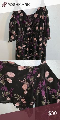 d10fc899222 Cold shoulder Torrid Dress Black torrid dress with purple flowers
