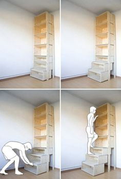 StairCASE: Ladder & Shelving Unit by Danny Kuo - Space saving shelves – what a cool idea, especially for short people like myself :] You are in the - Ladder Shelving Unit, Book Shelves, Drawer Shelves, Bookshelf Ladder, Storage Shelves, Attic Ladder, Attic Stairs, Storage Units, Pipe Shelves