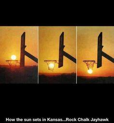 How the sun sets in Kansas. Rock Chalk Jayhawk!