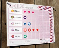 Kids Reward Chart. Love this. Can customize items to meet your child's needs. Must make this.