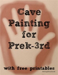 Cave Painting Activities for prek-3rd with free printables for kids