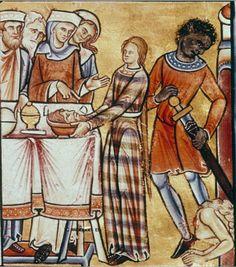 medievalpoc:  Anonymous Illuminator The Beheading of John the Baptist Canterbury, England (c. 1200) Psalter (176 fols.), fol. 2 sup v:...